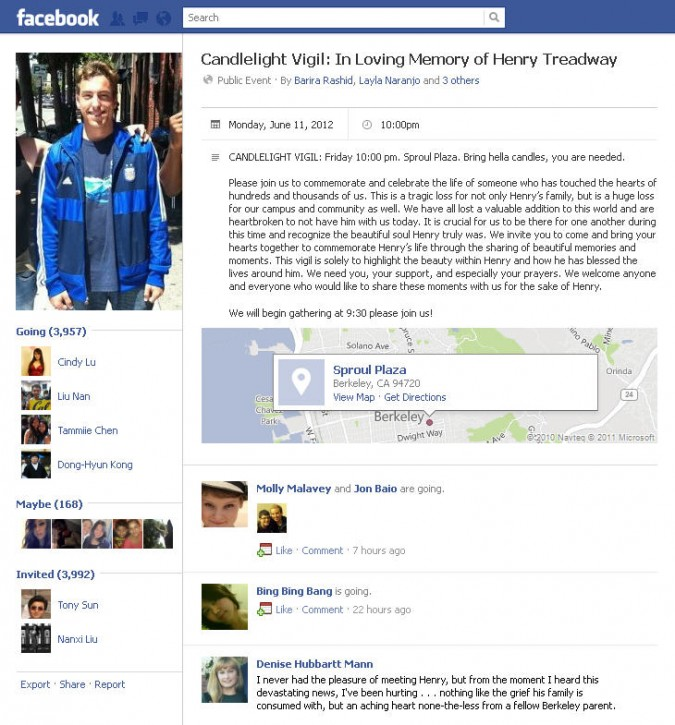 Henry Treadway Facebook candlelight vigil invite