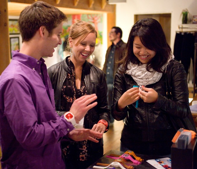 Devin Hexner and three fans of Modify Watches at D-Structure clothing boutique, 520 Haight Street, San Francisco, California USA, August, 25, 2012