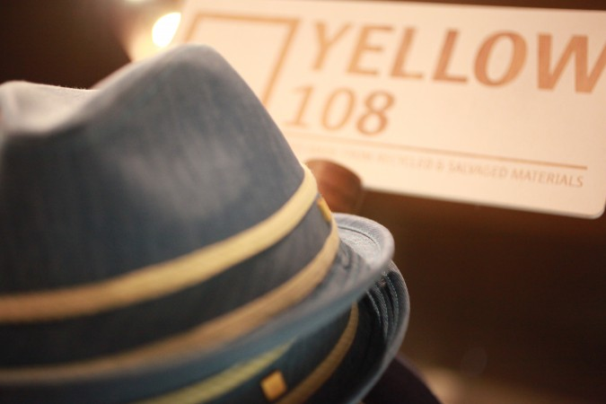 Yellow 108 brand hats at D-Structure boutique, San Francisco, August 25, 2012