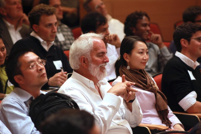 Audience members enjoying a funny moment at the Berkeley Entrepreneurs Forum, August 30, 2012