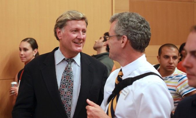 Jeff-Burton, left, the brand new Executive Director of the UC Berkeley Skydeck talks with Andre Marquis, Executive Director of The Lester Center for Entrepreneurship & Innovation, August 30, 2012. Photo by Kevin Warnock.