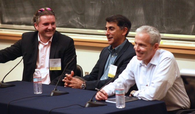Panelists Jeff Clavier, Vivek Mehra and Jim Barnett at Berkeley Entrepreneurs Forum, August 30, 2012. Photo by Kevin Warnock.