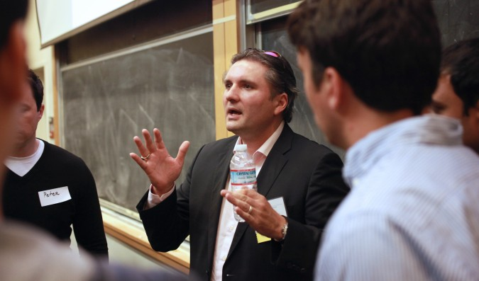Panelist Jeff Clavier answers questions at the Berkeley Entrepreneurs Forum, August 30, 2012. Photo by Kevin Warnock.