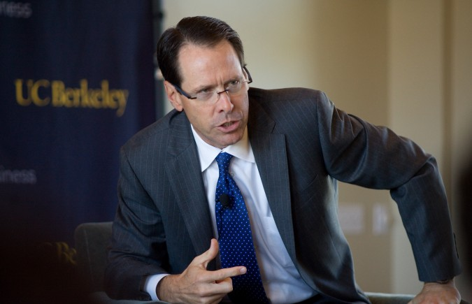 Randall Stephenson, CEO and Chair of AT&T, speaks at University of California at Berkeley, September 6, 2012. Photograph by Kevin Warnock.