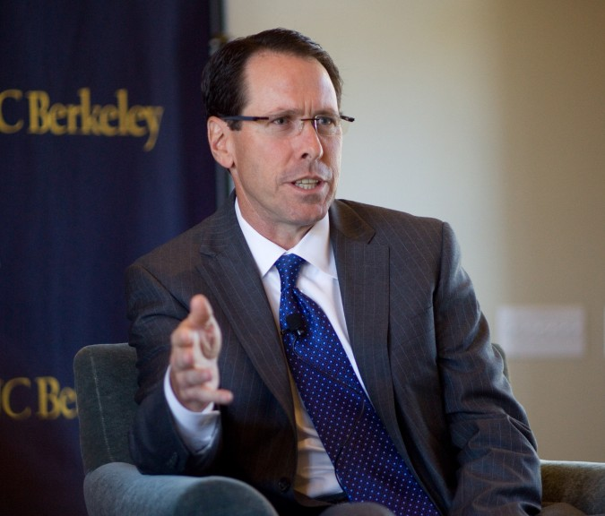Randall Stephenson, Chair and CEO of AT&T, photographed by Kevin Warnock on September 6, 2012 at UC Berkeley