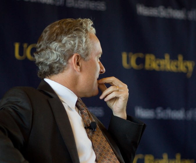 Rich Lyons, Dean of the Haas School of Business at University of California Berkeley, listens to Randall Stephenson answer a question, September 6, 2012. Photograph by Kevin Warnock.