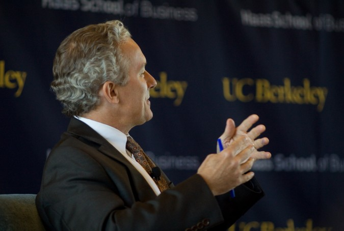 Rich Lyons, Dean of the Haas School of Business at University of California Berkeley, asks Randall Stephenson a question, September 6, 2012. Photograph by Kevin Warnock.