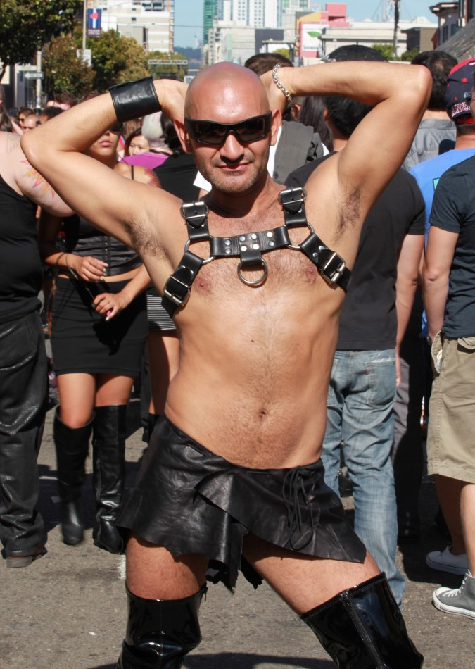 Man poses for the camera at the San Francisco Folsom Street Fair, September 23, 2012.