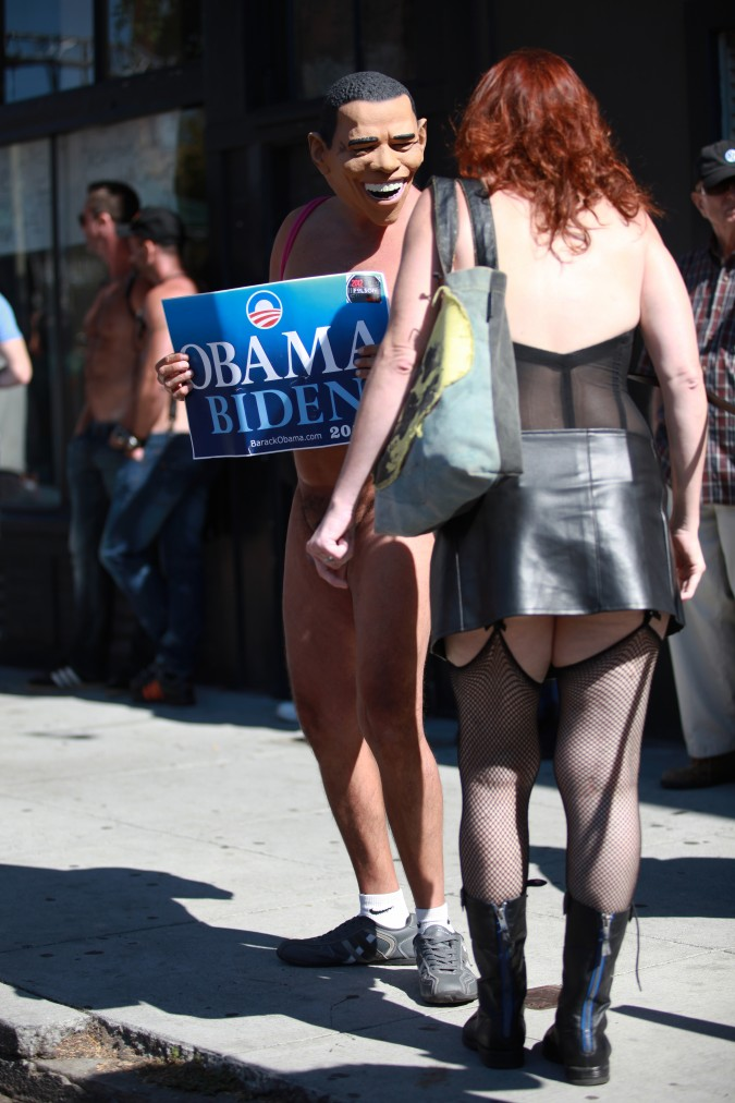 Naked man wearing a US President Barack Obama mask helps the President collect votes at the San Francisco Folsom Street Fair, September 23, 2012.