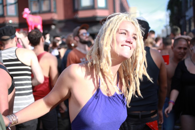 Woman dancing at the San Francisco Folsom Street Fair, September 23, 2012.