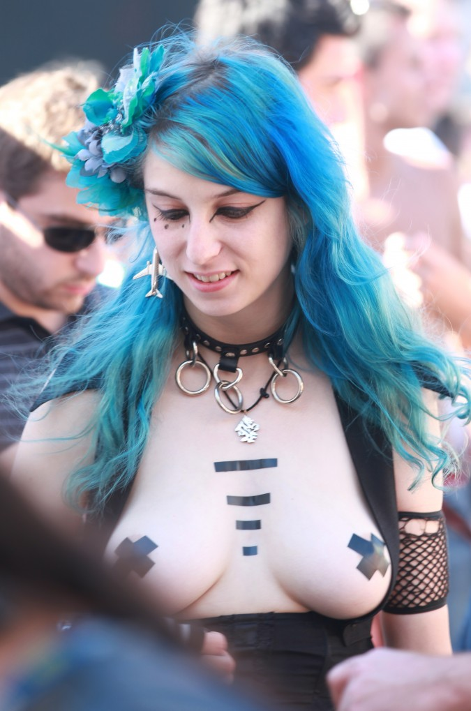 Woman with flowing blue hair at the San Francisco Folsom Street Fair, September 23, 2012.