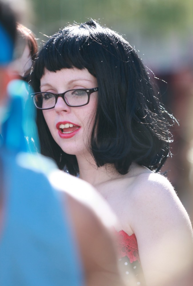 Woman with jet black hair at the San Francisco Folsom Street Fair, September 23, 2012.