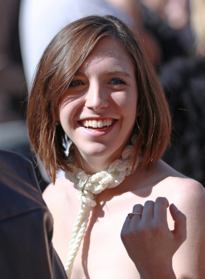 Woman with a beautiful smile at the San Francisco Folsom Street Fair, September 23, 2012.