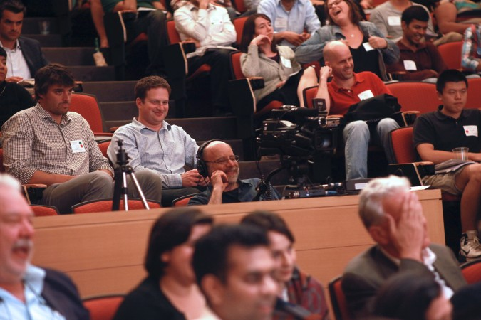 Stuart Sweetow, owner of Audio Video Consultants, capturing video at the Berkeley Entrepreneurs Forum, August 30, 2012