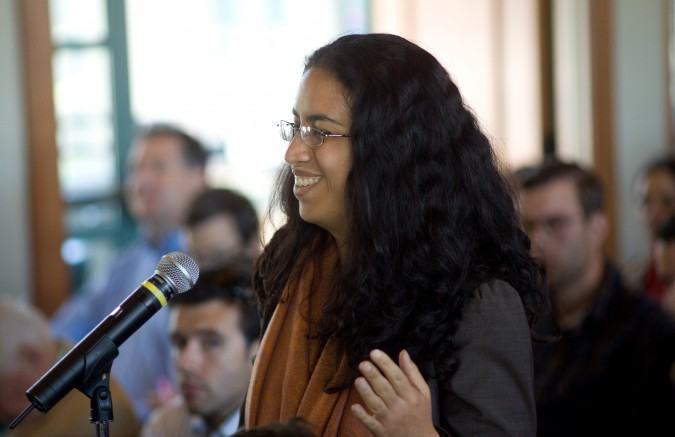 University of California Berkeley student asks AT&T CEO Randall Stephenson a question, September 6, 2012. Photograph by Kevin Warnock.