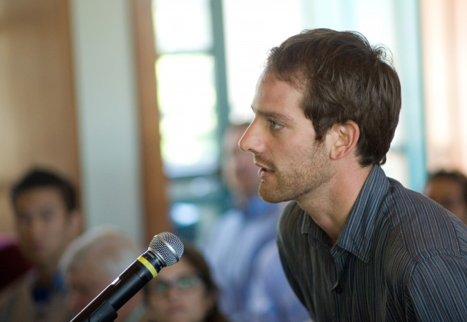 Student asks AT&T CEO and Chair Randall Stephenson a question, September 6, 2012, at University of California Berkeley