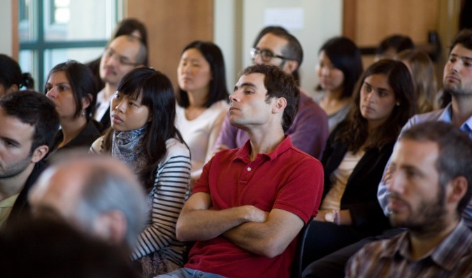 University of California Berkeley students listen to AT&T CEO and Chair Randall Stephenson speak, September 6, 2012