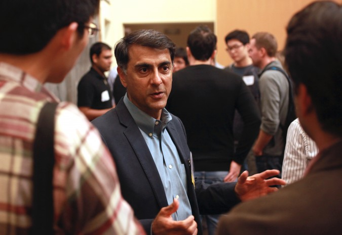 Vivek Mehra, a partner at August Capital, answers questions posed by attendees at the Berkeley Entrepreneurs Forum, August 30, 2012