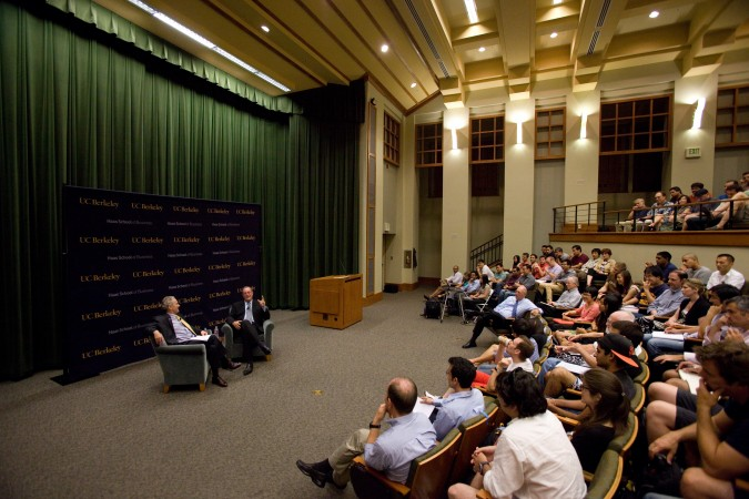 Audience watches Rich Lyons interview Intel CEO Paul Otellini, October 3, 2012 at University of California Berkeley