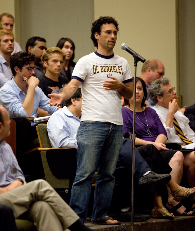 Second year Haas student Michael Vladimer asks Intel CEO Paul Otellini a question, October 3, 2012 at University of California Berkeley. To the right of the student, seated: Jill Erbland and Andre Marquis.
