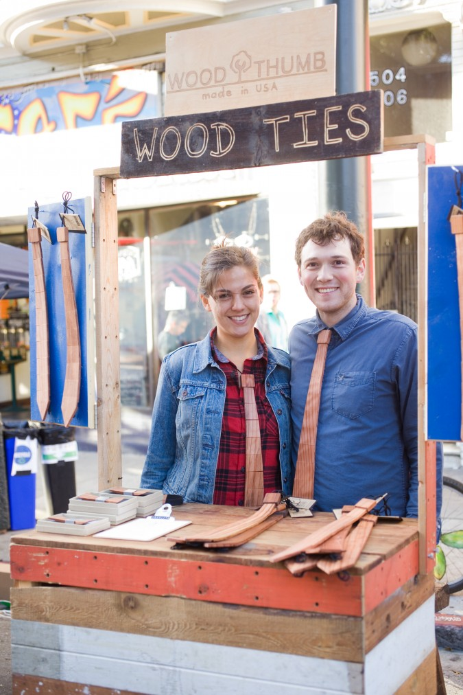 Chris Steinrueck co-founder of Wood Thumb with his girlfriend Rebecca Carrillo at Lower Haight Urban Air Market, October 20, 2012, San Francisco, California USA