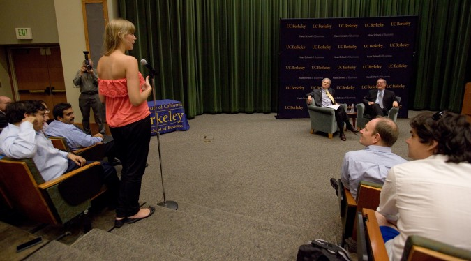 Haas School of Business student asks Intel CEO Paul Otellini a question October 3, 2012 at University of California Berkeley