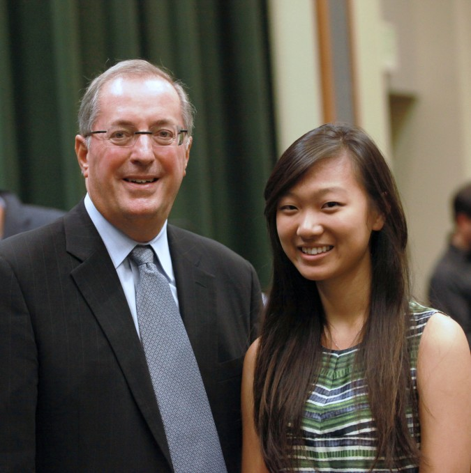 Intel CEO Paul Otellini with University of California Berkeley student Tammie Chen. Photograph by Kevin Warnock, October 3, 2012.