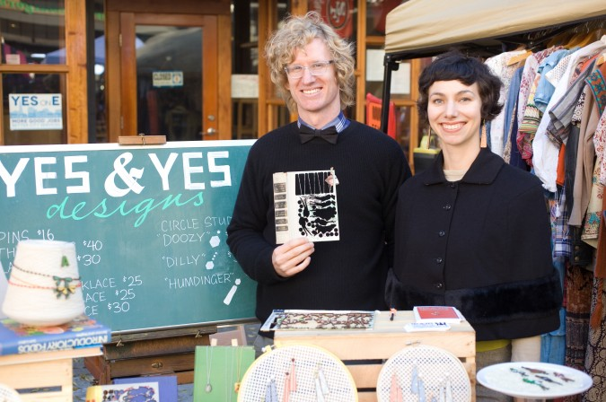 Laura Bruland the founder of Yes and Yes Designs with her boyfriend Julien Shields that works with her in the business, October 20, 2012, San Francisco, California USA