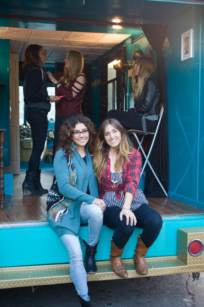 Misty Briglia and Sarah LaShelle co-founders of Pretty Parlor beauty boutique on wheels, October 20, 2012, San Francisco, California USA