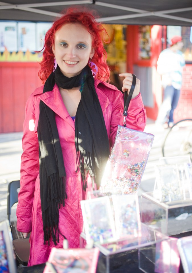 Sarah Boll owner of Glitter Disaster at Lower Haight Urban Air Market, October 20, 2012. Photograph by Kevin Warnock.