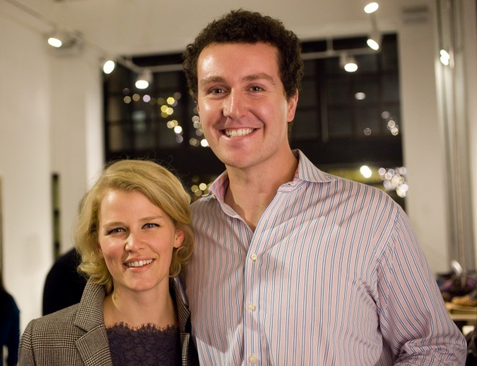 Fergus Hurley (right) at Monogram fashion magazine and shopping iPad app launch party at La Boutique l'Art et la Mode, November 27, 2012, 414 Jackson Street, San Francisco, California USA