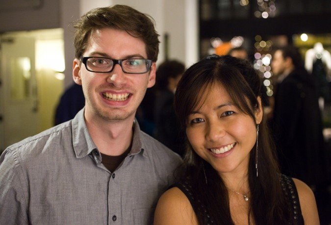 Jim England, co-founder of Publik Demand, and Cheryl Yeoh, CEO of ReclipIt, at Monogram app launch party, November 27, 2012.
