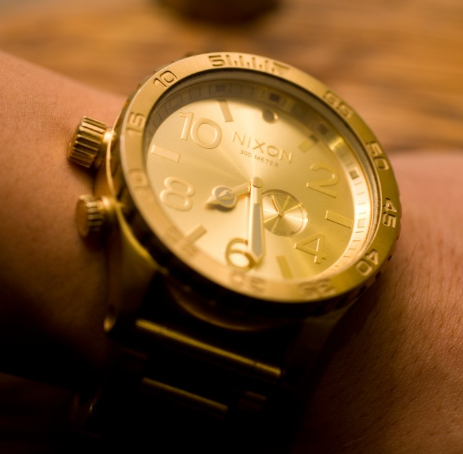 Justin Kan's Nixon brand watch on his arm, November 27, 2012, San Francisco, California, at Monogram launch party.
