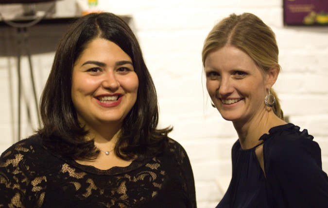 Kristen Slowe and Erin Flynn Hakansson at Monogram launch party, November 27, 2012, San Francisco, California USA