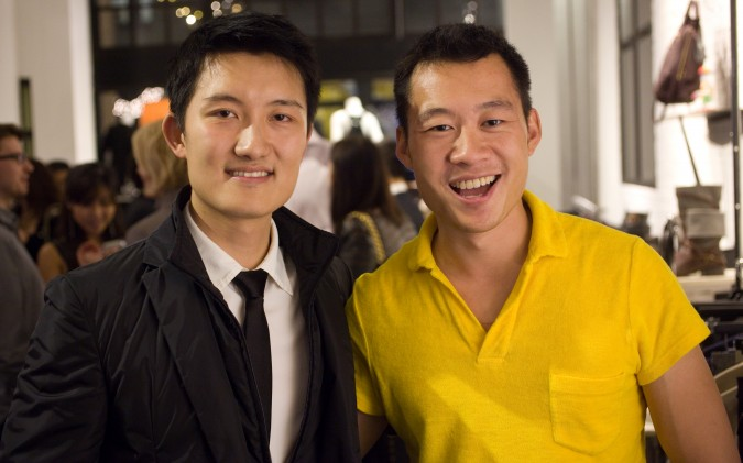 Leo Chen and Justin Kan at Monogram app launch party, 414 Jackson Street, San Francisco, California USA, November 27, 2012.