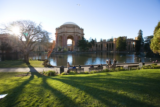 Palace of Fine Arts about an hour before sunset on January 2, 2013, the final day of operation of The Exploratorium science museum at that location.