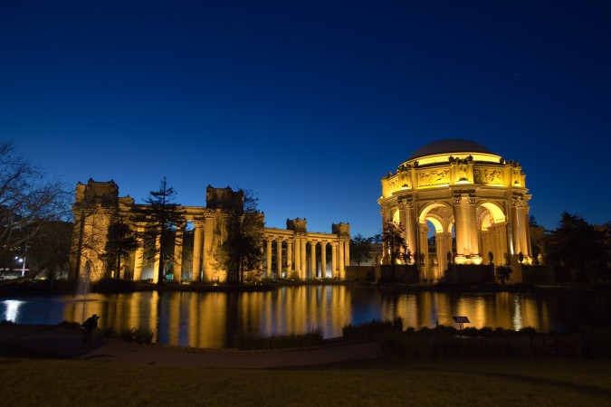 The Palace of Fine Arts shortly after sunset on January 2, 2013, the final day the Exploratorium was open to the public.
