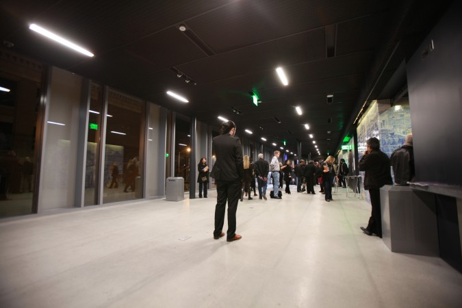 SFJAZZ Center second floor reception area on opening night, January 21, 2013. Photograph by Kevin Warnock.
