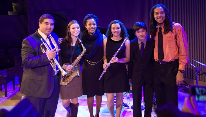 SFJAZZ High School All-Stars at opening night for SFJAZZ Center, San Francisco, California, January 21, 2013. Photograph by Kevin Warnock. Left to right: Tracy Fitzsimmons, Jill Ryan, Aneesa Al-Musawwir, Elena Pinderhughes, Matt Wong and Malachi Whitson.