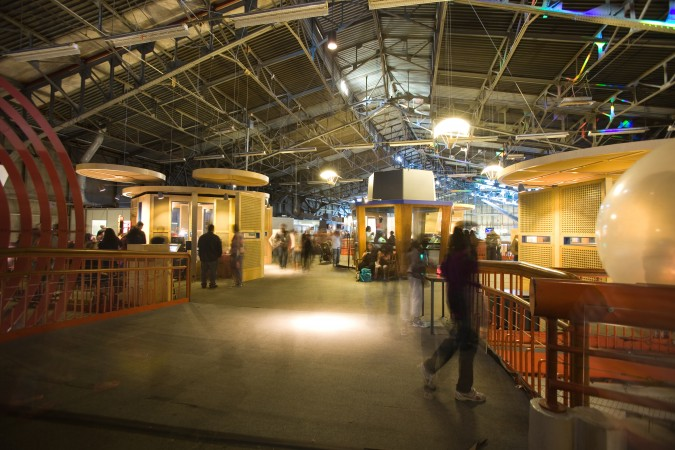 A 6 second long exposure of the upper deck at The Exploratorium on its final day at The Palace of Fine Arts, January 2, 2013