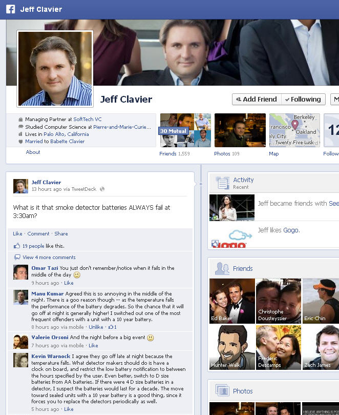Jeff Clavier's Facebook Wall as of March 22, 2013