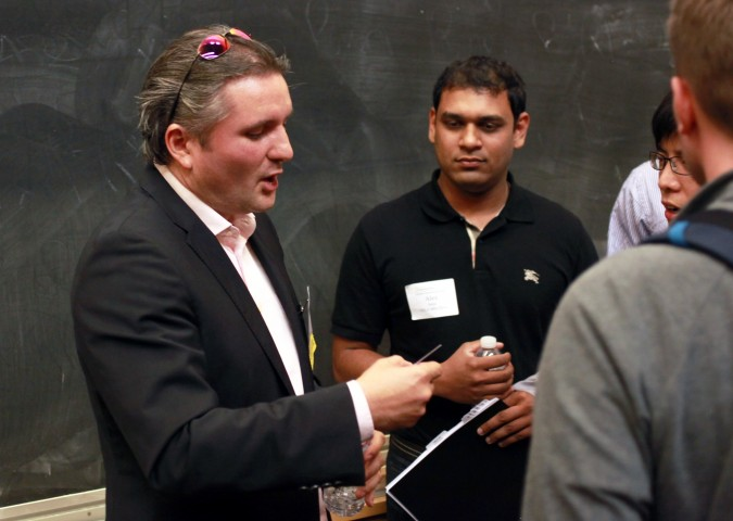Jeff Clavier on left August 30 2012 at Berkeley Entrepreneurs Forum Photo by Kevin Warnock
