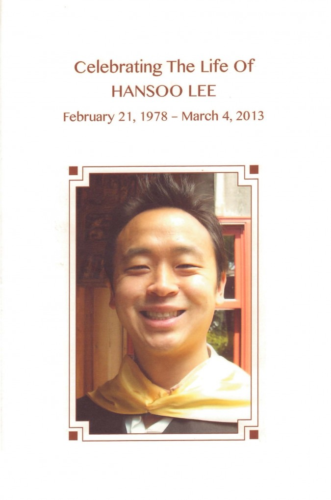 Program for the memorial service for Hansoo Lee, March 18, 2013, Golden Gate Club, page 1