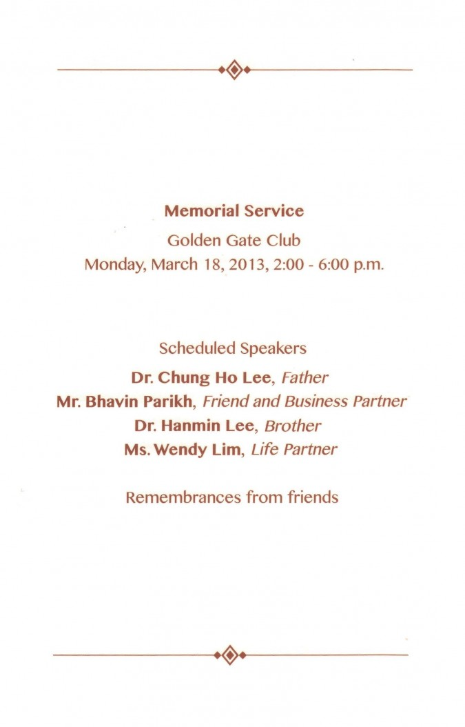 Program for the memorial service for Hansoo Lee, March 18, 2013, Golden Gate Club, page 3