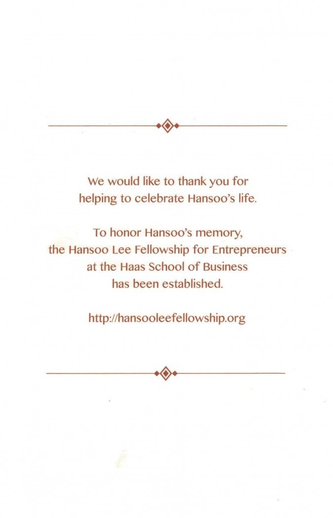 Program for the memorial service for Hansoo Lee, March 18, 2013, Golden Gate Club, page 4