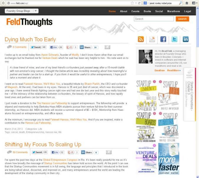 "Screen capture of http://www.feld.dot com, March 21, 2013. Article ""Dying Much Too Early"" by Brad Feld."