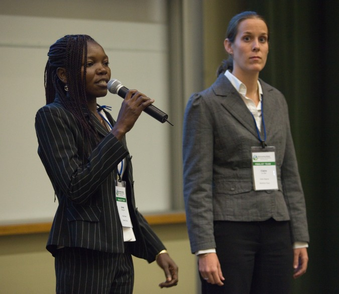 Armel Guenguara, left, founder of Nafa Naana, at 2013 Global Social Venture Competition, April 12, 2013
