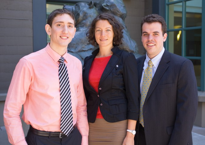 Benjamin Cohen, Dori Pap and Travis Horsley at 2013 Global Social Venture Competition, April 12, 2013. Pap is a mentor for TOHL, Inc., one of the finalist teams, which is run by Cohen and Horsley.