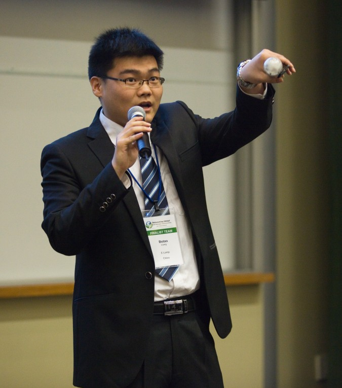 Botao Liang of E-Lamp from China - at  2013 Global Social Venture Competition, April 12, 2013