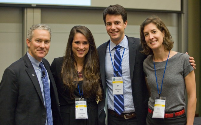Dean Rich Lyons, Molly Bode, Nick Cain and Laura Tilghman at 2013 Global Social Venture Competition, April 12, 2013